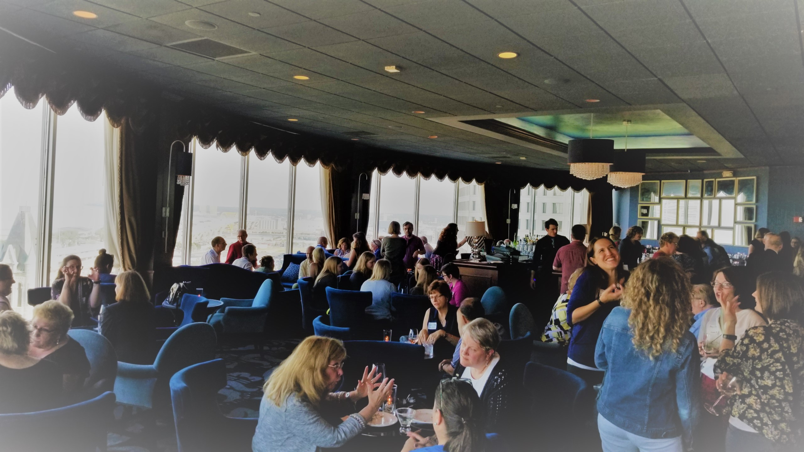 photo of entire Blu bar showing guests mingling