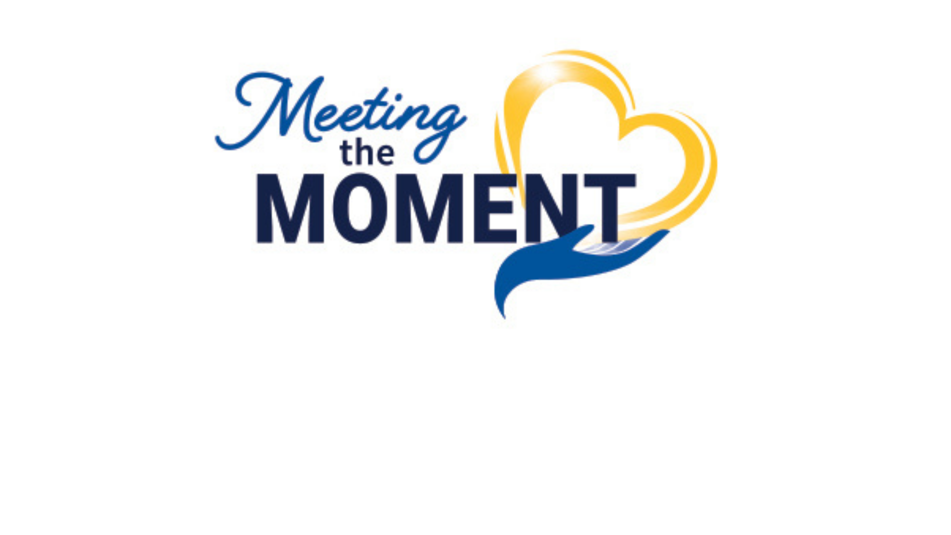Meeting the moment logo yellow heart held in blue hand