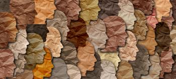 Tissue paper cut outs of human profiles of varying skin tones