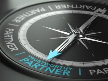 "compass with arrow pointing to ""trustworthy partner"""