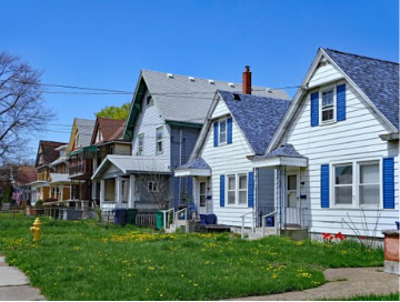row of middle class homes