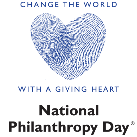 """Change the World With a Giving Heart"" National Philanthropy Day logo"