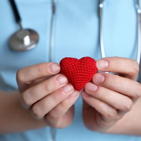 medical worker holding small knit heart