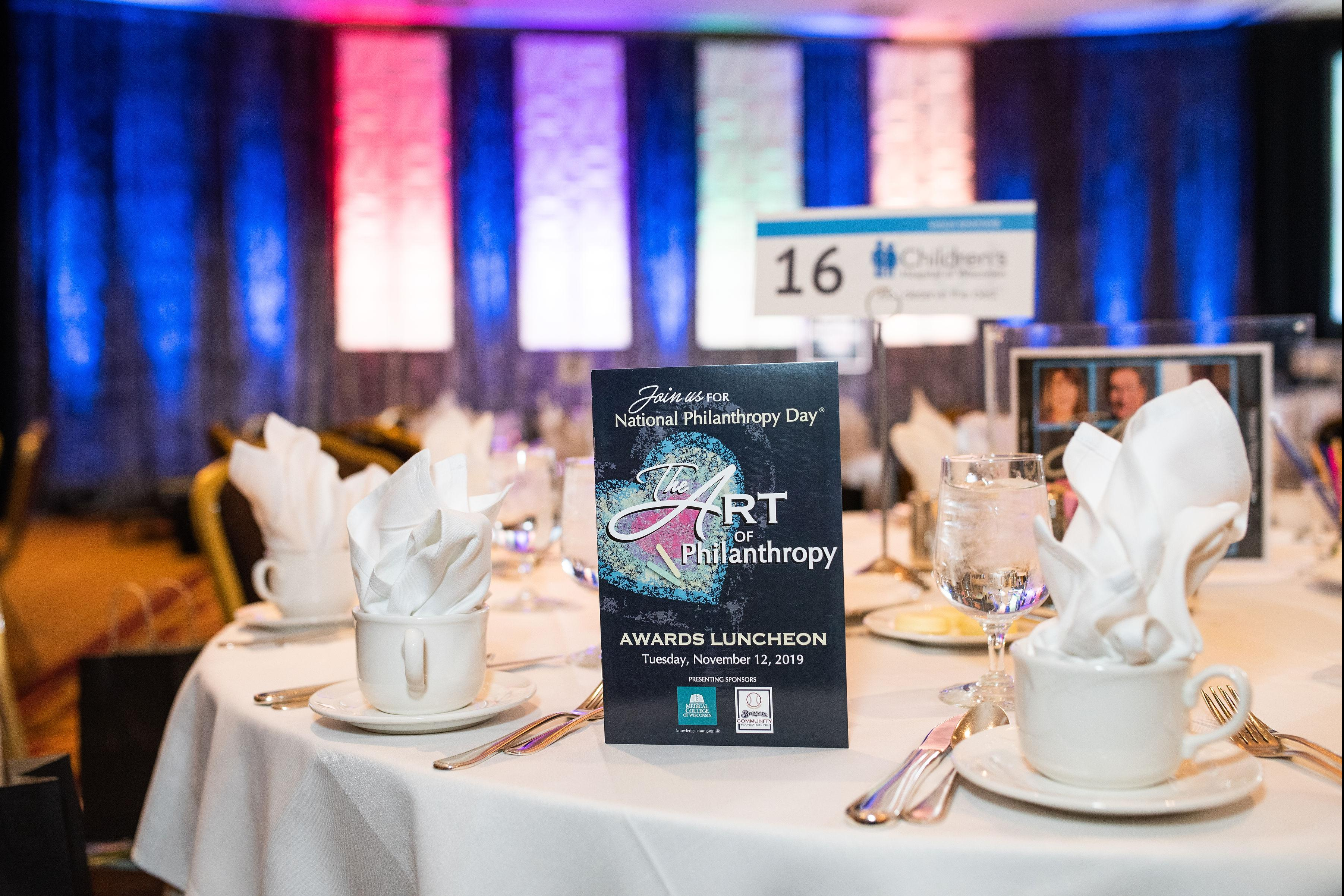2019 National Philanthropy Day program and table setting