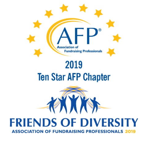 "2019 Chapter Award Logos ""Ten Star AFP Chapter"" and ""Friends of Diversity"""