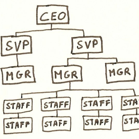 Drawing of employee tree with CEO on top and staff on the bottom