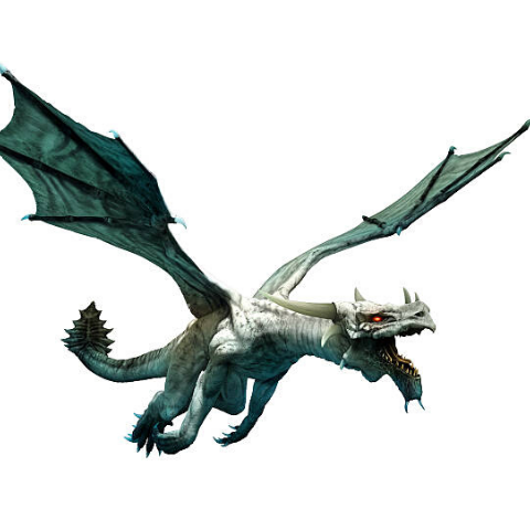 Image of a flying white dragon