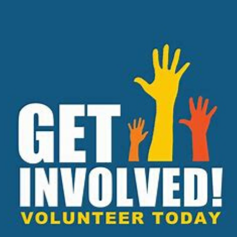 """Get Involved!"" ""Volunteer Today"" with three images of out stretched arms/hands"