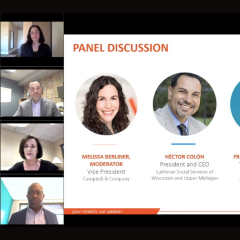 screen shot of panelists and PowerPoint presentation during the online event