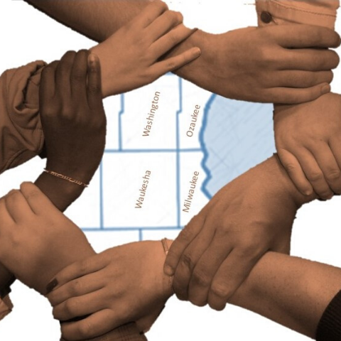 Hands holding wrist of others making a weaved circle with image of Wisconsin counties map in the background