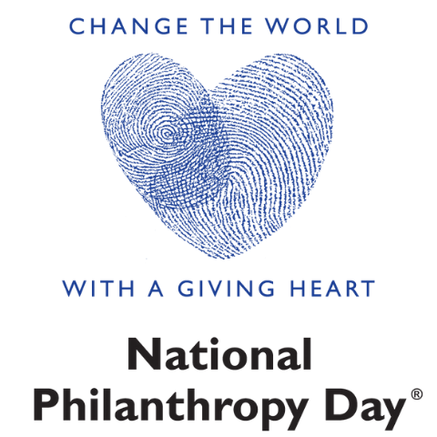 """Change the World with a Giving Heart"" NPD logo with a heart formed with two fingerprints"
