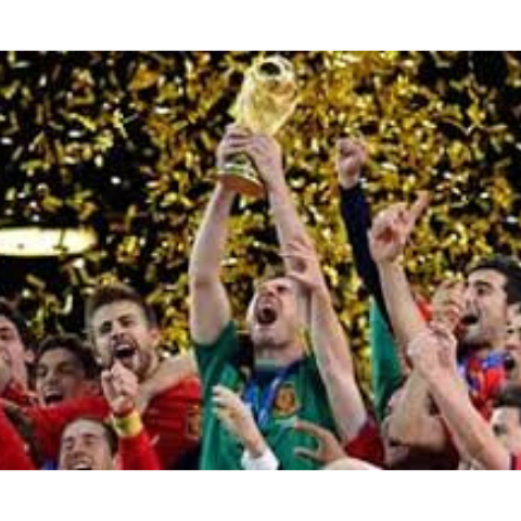 Image of Iker Casillas and Spain's National Soccer Team holding trophy in celebration of winning the 2010 World Cup