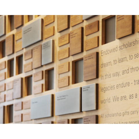 image of a donor wall listing names of donors