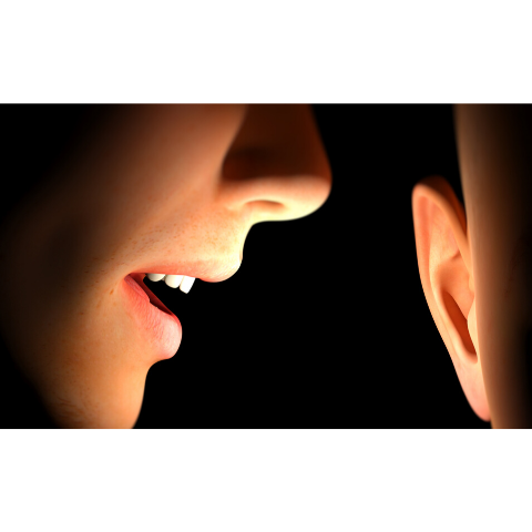 image showing person whispering into someone's ear