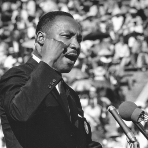 Martin Luther King Jr. given a speech for a large crowd